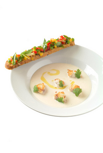 Monkfish soup bell peppers bruschetta cv