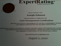 Lean management certification cv