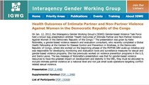 Interagency gender working group   health outcomes of intimate partner and non partner violence against women in the democratic republic of the congo cv