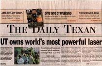 Daily texan front page petawatt cv