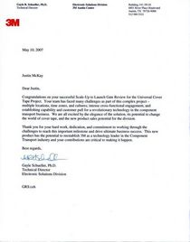 3m letter of commendation cv