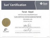 Sun certificate cv