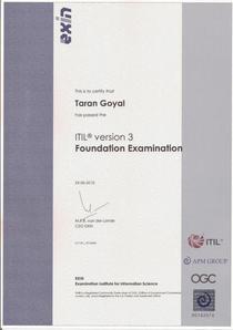 Itil certificate cv
