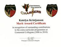 Centennial merit award certificate cv