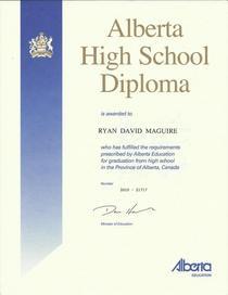 Ryan hs diploma cv