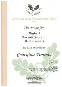 Certificate in ecological consultancy prize cover cv
