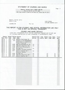 High school transcript 2 cv