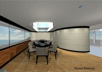 Yacht dining room perspective cv