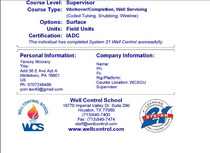 Wc certification cv