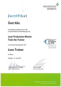 Zertifikat lean trainer cv