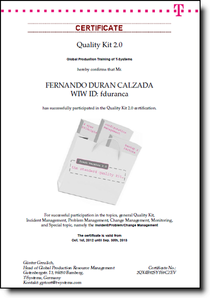 Quality kit certificate cv
