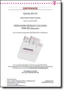 Quality kit certificate cv