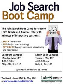 Job search bootcamp flyer for printing cv