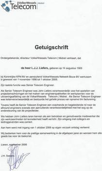 Getuigschrift vw telecom cv
