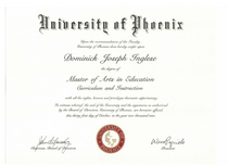 Dominick inglese diploma university of phoenix cv
