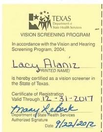 Screening certs cv