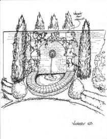Wall fountain sketch cv