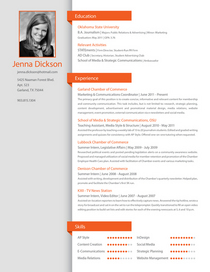 Jenna dickson resume update cv