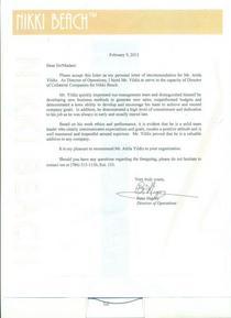 Nikki beach refernce letter cv
