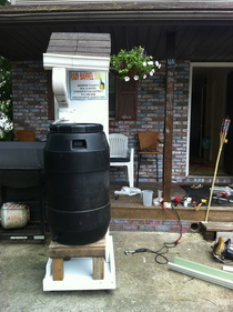 Rain barrel display cv
