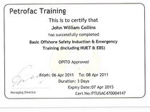Collins survival course cert cv