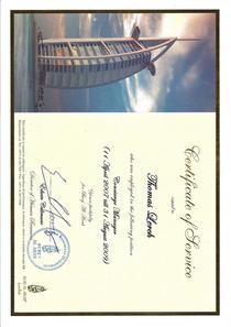 Burj al arab certificate cv