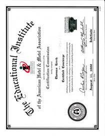 Ah ma certificate certified concierge cv
