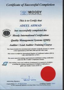 Qms irca certification cv