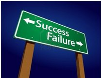 5308196 success failure green road sign illustration on a radiant blue background cv