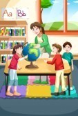 18092938 a vector illustration of kindergarten teacher and students looking at a globe in the classroom cv