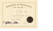 Certificate of achievement cv