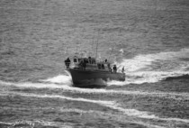 Depoe bay boat closeup bw cv