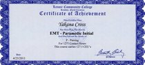 Paramedic course completion certificate cv