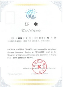 Certificado chino cv