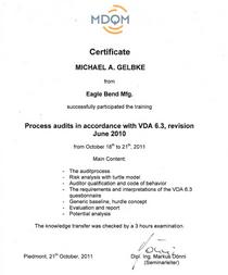 Vda 6.3 certification cv