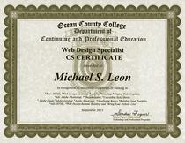 Michael leon ocean county college kean web design certification cv