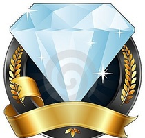Achievement award diamond jewel gold ribbon 20765474 cv
