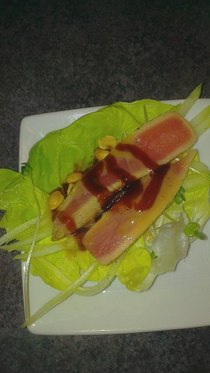 Tuna lettuce wrap with soy caramel peanut thai peanut sauce and sprouts cv
