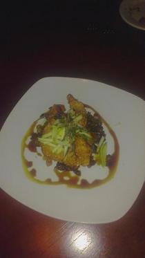 Fried quail with chestnut coolie tart apple fried brussel spouts and soy caramel cv