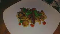 Wild mushrooms with lamb bacon cauliflower puree fish sauce and homemade hot sauce cv