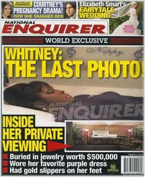 National enquirer cover shows whitney houston in open coffin cv
