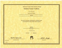 Substitute teaching certificate cv
