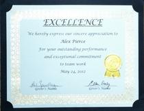 Excellence award 2012 cv