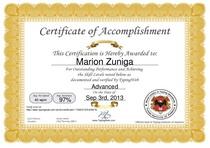 Typigng certificate cv