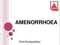 1 amenorrhoea cv