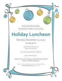 Holiday luncheon invite cv