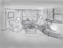 Retreat living room night cv