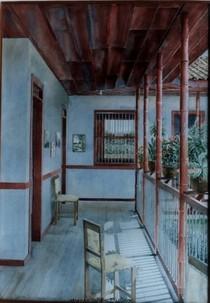 Interior rojo con silla  100 x 70 cms cv