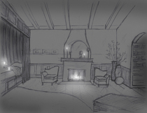 Fireplace bedroom night cv