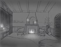 Fireplace bedroom night cv